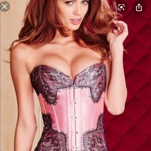 Adore Me pink corset with black lace.